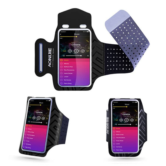 Professional Cover Neoprene Armband Sport Walking Running Fitness Cycling Gym for BlackBerry Evolve X [2018] - Black