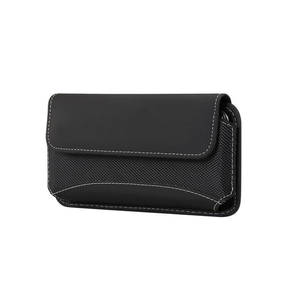 Belt Case Cover Horizontal New Design Leather & Nylon for REALME NARZO 10A (2020) - Black