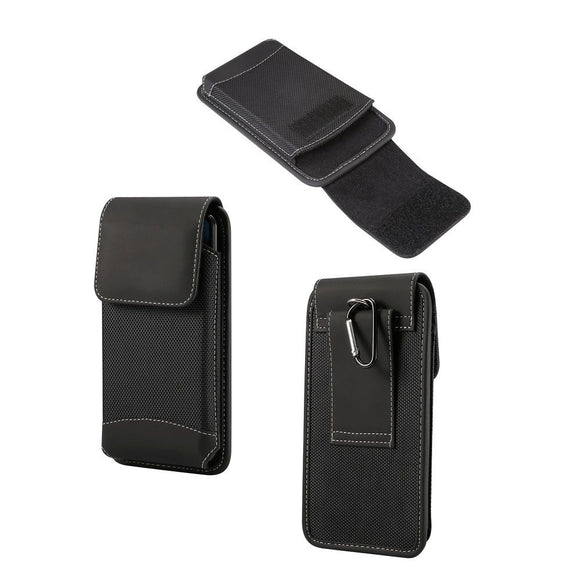 Belt Case Cover Vertical New Design Leather & Nylon for Motorola Moto G8 (2020) - Black