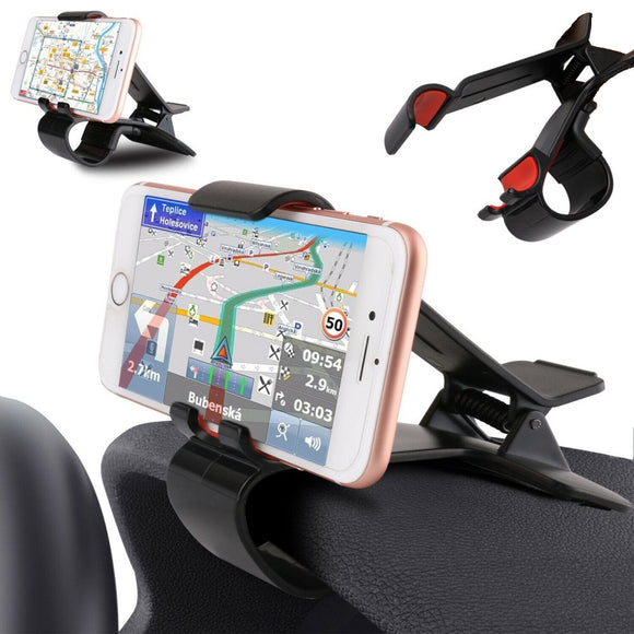 Car GPS Navigation Dashboard Mobile Phone Holder Clip for Motorola Moto G8 (2020) - Black
