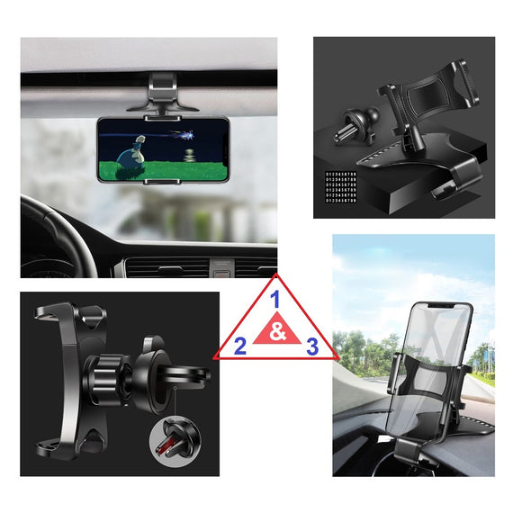 3 in 1 Car GPS Smartphone Holder: Dashboard / Visor Clamp + AC Grid Clip for Fujitsu Arrows U (2019) - Black