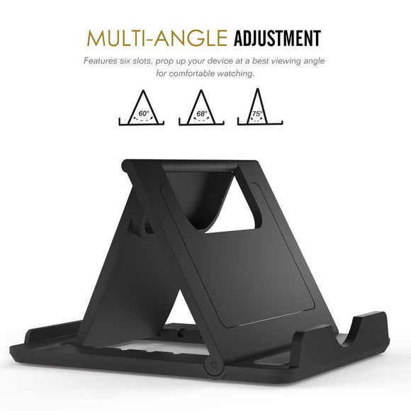 Holder Desk Adjustable Multi-angle Folding Desktop Stand for Smartphone and Tablet for HONOR PLAY 9A (2020) - Black