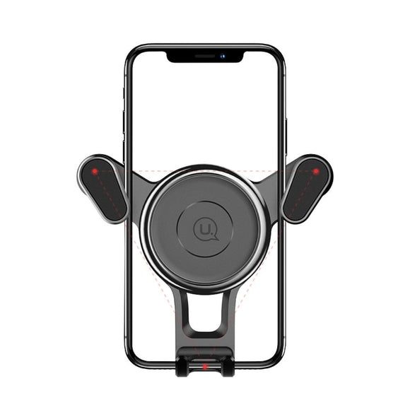 Rotatable Triangle Universal Car Air Vent Phone Holder Stand Mount with Clip for LG V60 ThinQ 5G (2020) - Black
