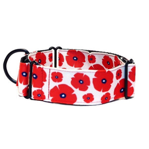 "White with Red Poppies 1.5"" collar"