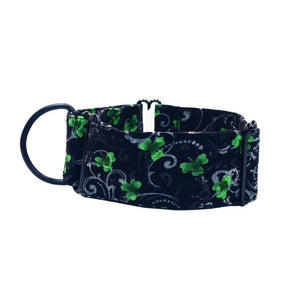 "Black with Green Clover Leaf 2"" Collar"