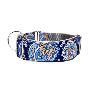 "Blue with Retro Flower 1.5"" collar"