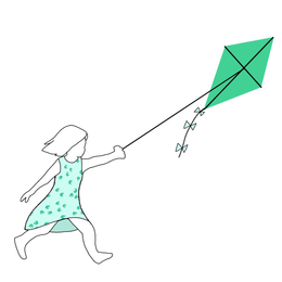 hand drawn logo with a girl in an abstract tulip floral print dress flying a jade green kite