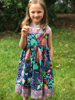Load image into Gallery viewer, skater dress in bold navy, jade, and pink florals - little girl Pearl