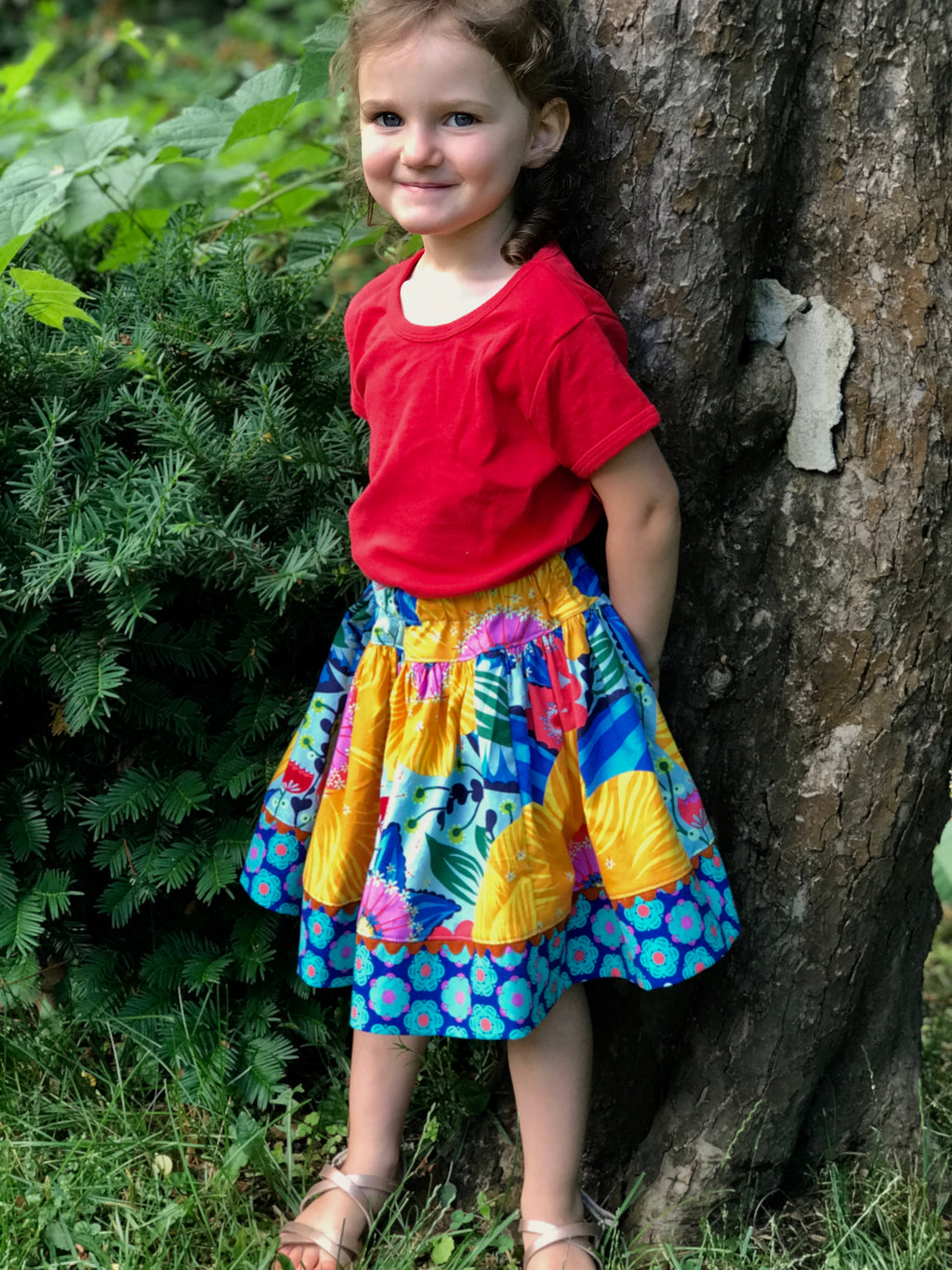 favorite twirl skirt in bold golden big bloom - little girl Pearl
