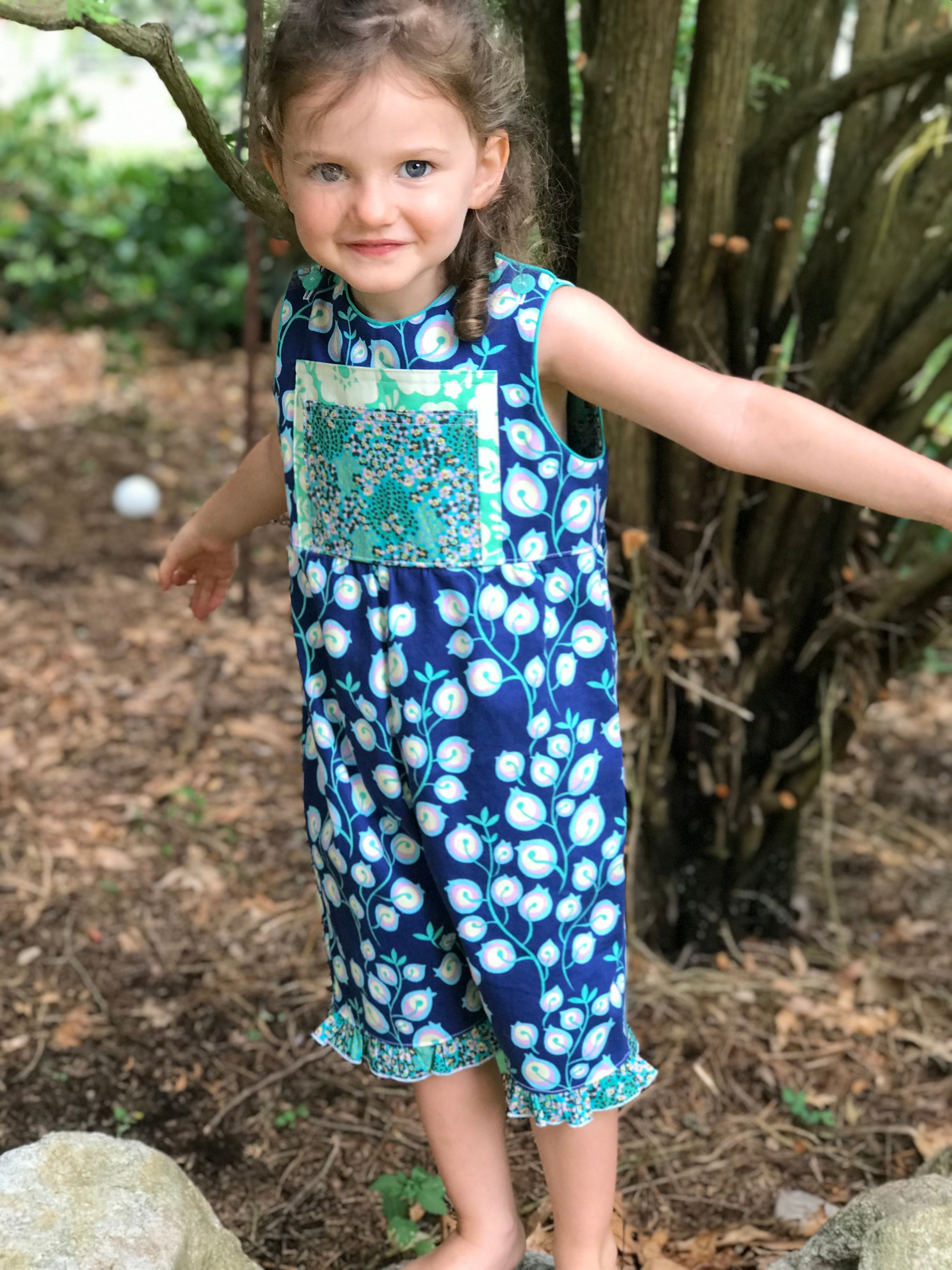 classic kid overalls in navy vine - little girl Pearl