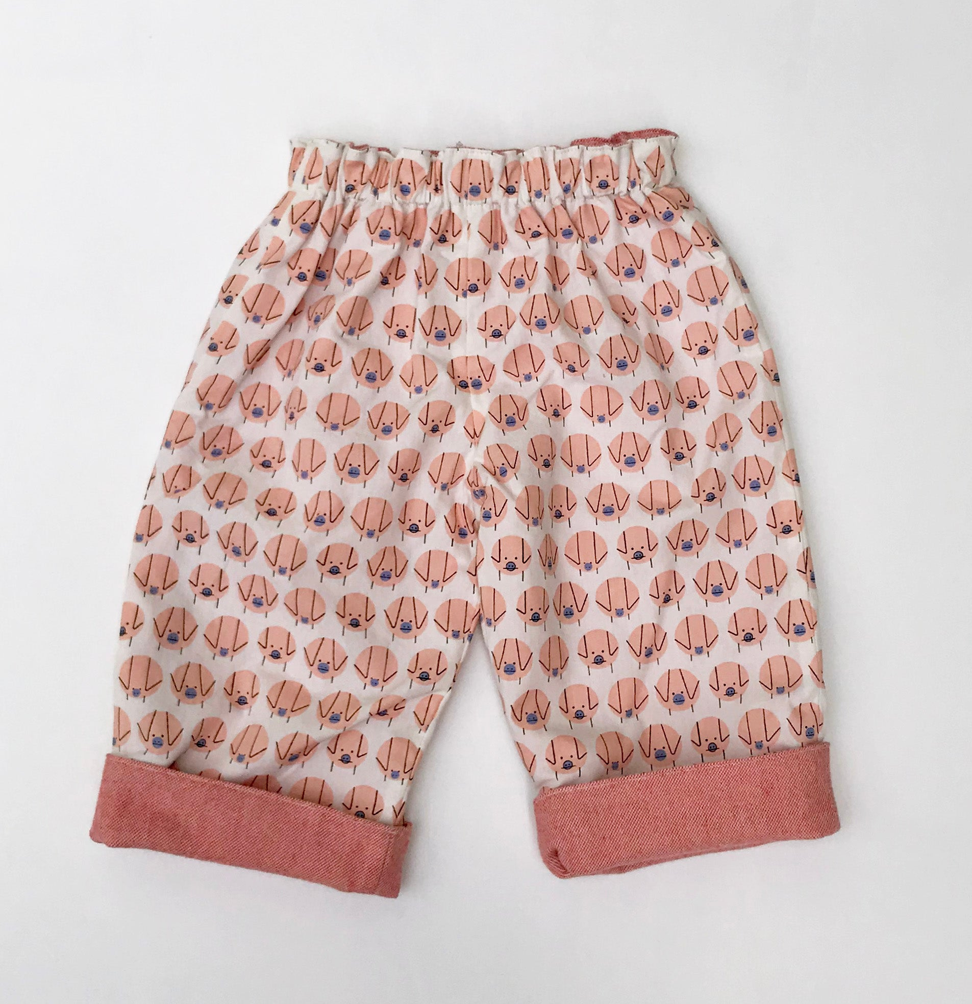 flannel reversible pants in Charley Harper Piggie - little girl Pearl