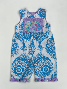 classic kid overalls french blue and ivory - little girl Pearl