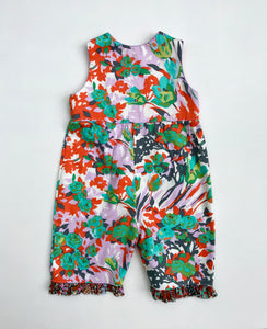classic kid overalls in bright heart floral - little girl Pearl