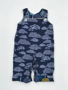 reversible overalls in clouds and trees, organic cotton - little girl Pearl