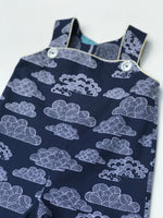 Load image into Gallery viewer, reversible overalls in clouds and trees, organic cotton - little girl Pearl
