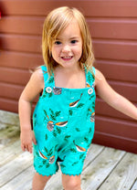 Load image into Gallery viewer, reversible shortalls in Charley Harper vireo and buttercups - little girl Pearl