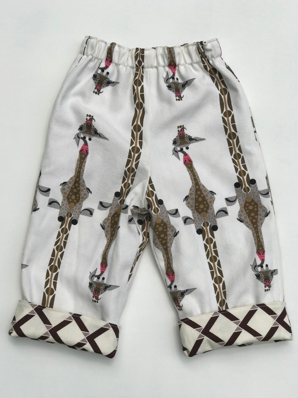 reversible pants in giraffe and plaid - little girl Pearl