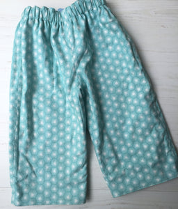flannel reversible pants in park tree - little girl Pearl
