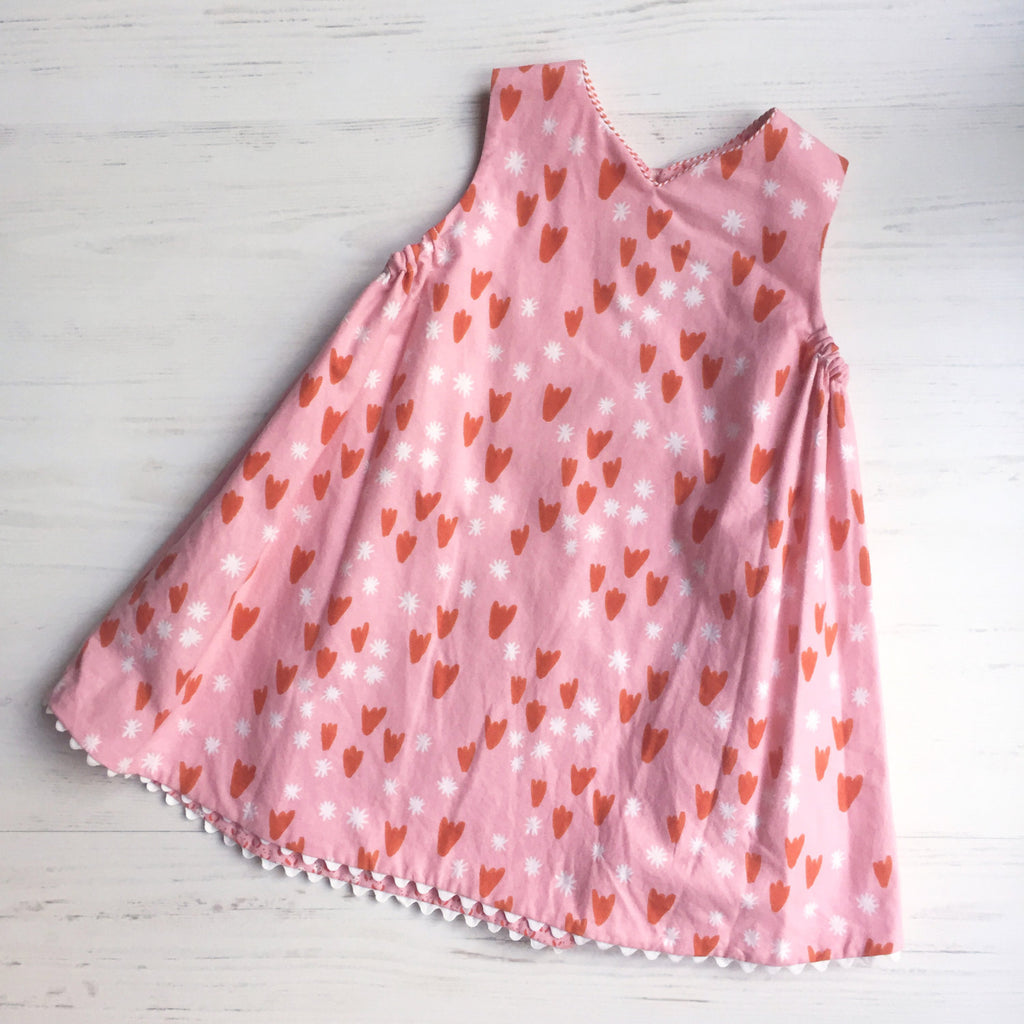 reversible jumper dress in pink panda and tulip - little girl Pearl