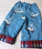 Load image into Gallery viewer, flannel reversible pants in Charley Harper Seagull and Crab - little girl Pearl