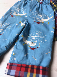 flannel reversible pants in Charley Harper Seagull and Crab - little girl Pearl