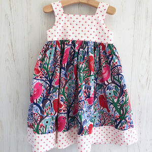 knot dress in crazy pink bird - little girl Pearl