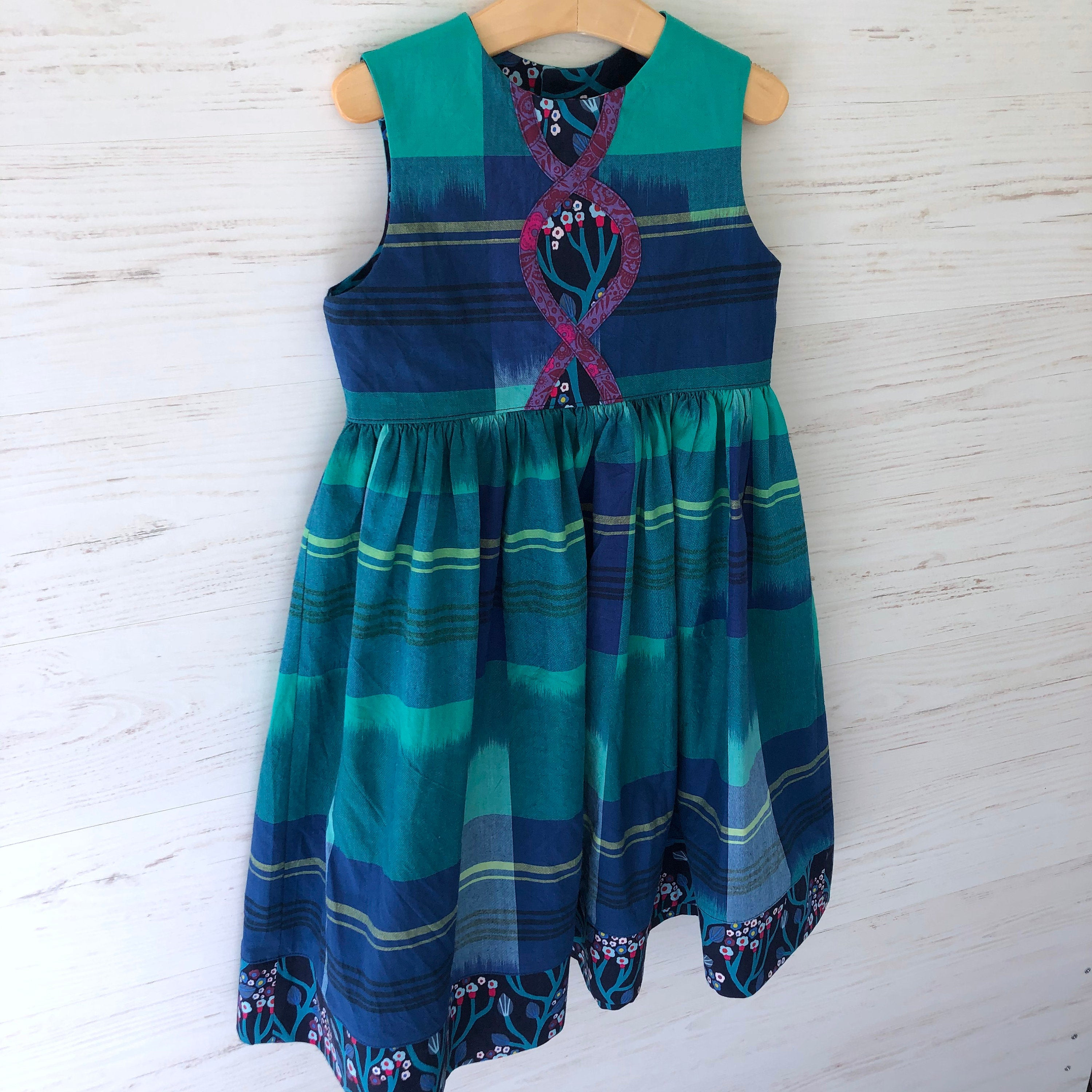 Intertwine dress in Blue and Jade plaid, sizes 2T 3T 4T 5 6 - little girl Pearl