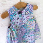 Load image into Gallery viewer, reversible jumper dress in lilac millefiori and lavender morning glory - little girl Pearl