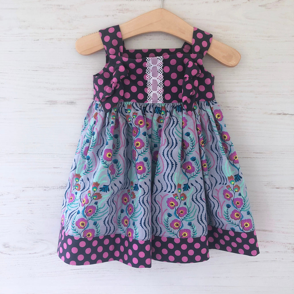 knot dress in lilac messages - little girl Pearl