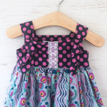 Load image into Gallery viewer, knot dress in lilac messages - little girl Pearl