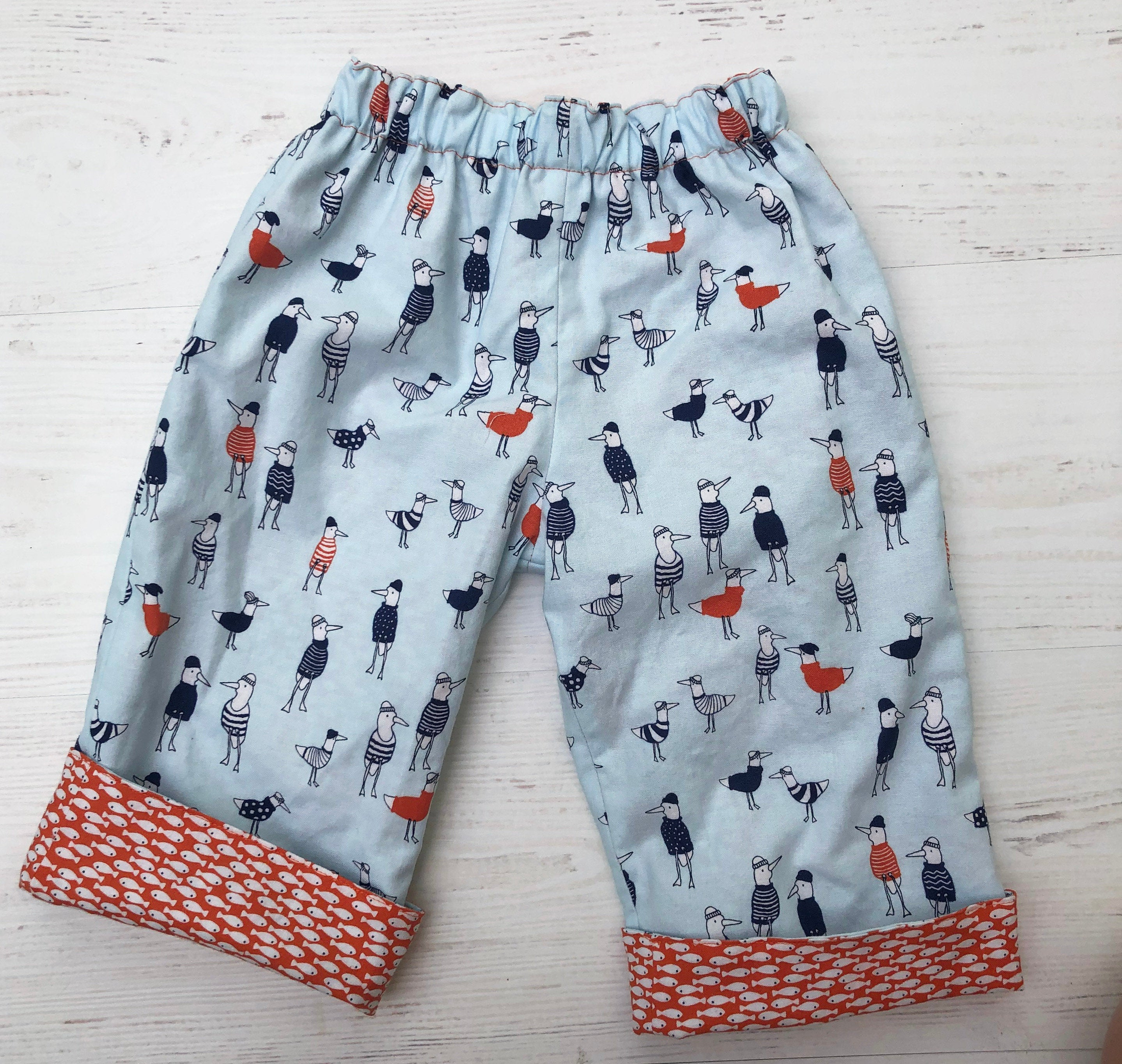 cotton reversible pants in seagull sailor and fishie - little girl Pearl