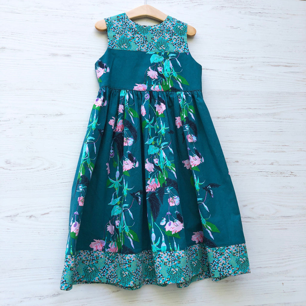 Jade Flower Skater Dress, sizes 2T 3T 4T 5 6 - little girl Pearl