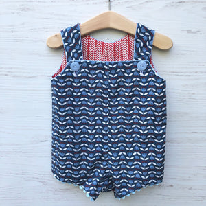 reversible shortalls in blue tulip and red herringbone, organic cotton romper - little girl Pearl