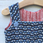 Load image into Gallery viewer, reversible shortalls in blue tulip and red herringbone, organic cotton romper - little girl Pearl