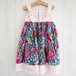 Load image into Gallery viewer, knot dress in crazy pink bird - little girl Pearl