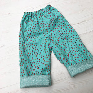 flannel reversible pants in mint strawberry - little girl Pearl