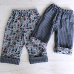 Load image into Gallery viewer, Flannel reversible pants in gray owl - little girl Pearl