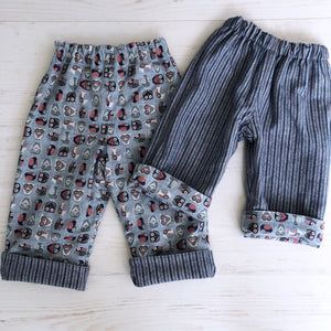 Flannel reversible pants in gray owl - little girl Pearl