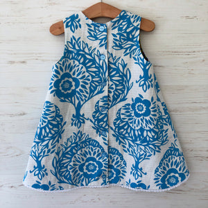 reversible intertwine dress in ivory and blue - little girl Pearl