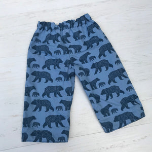flannel reversible pants in bear family - little girl Pearl