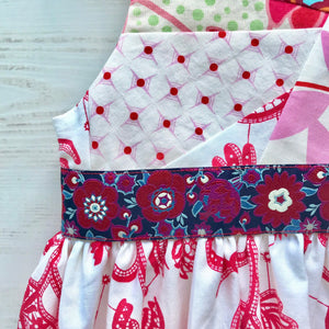 mad patchwork jumper dress in red, size 5, one of a kind - little girl Pearl