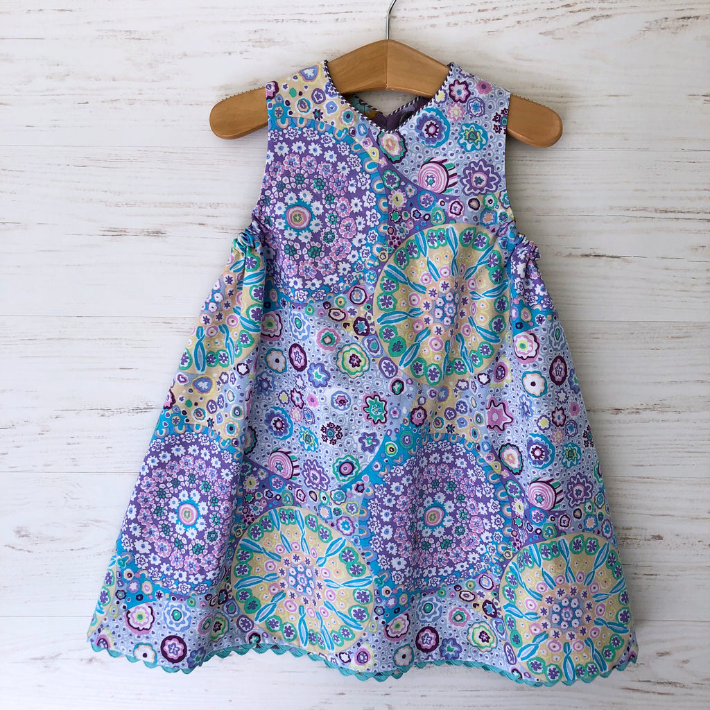 reversible jumper dress in lilac millefiori and lavender morning glory - little girl Pearl