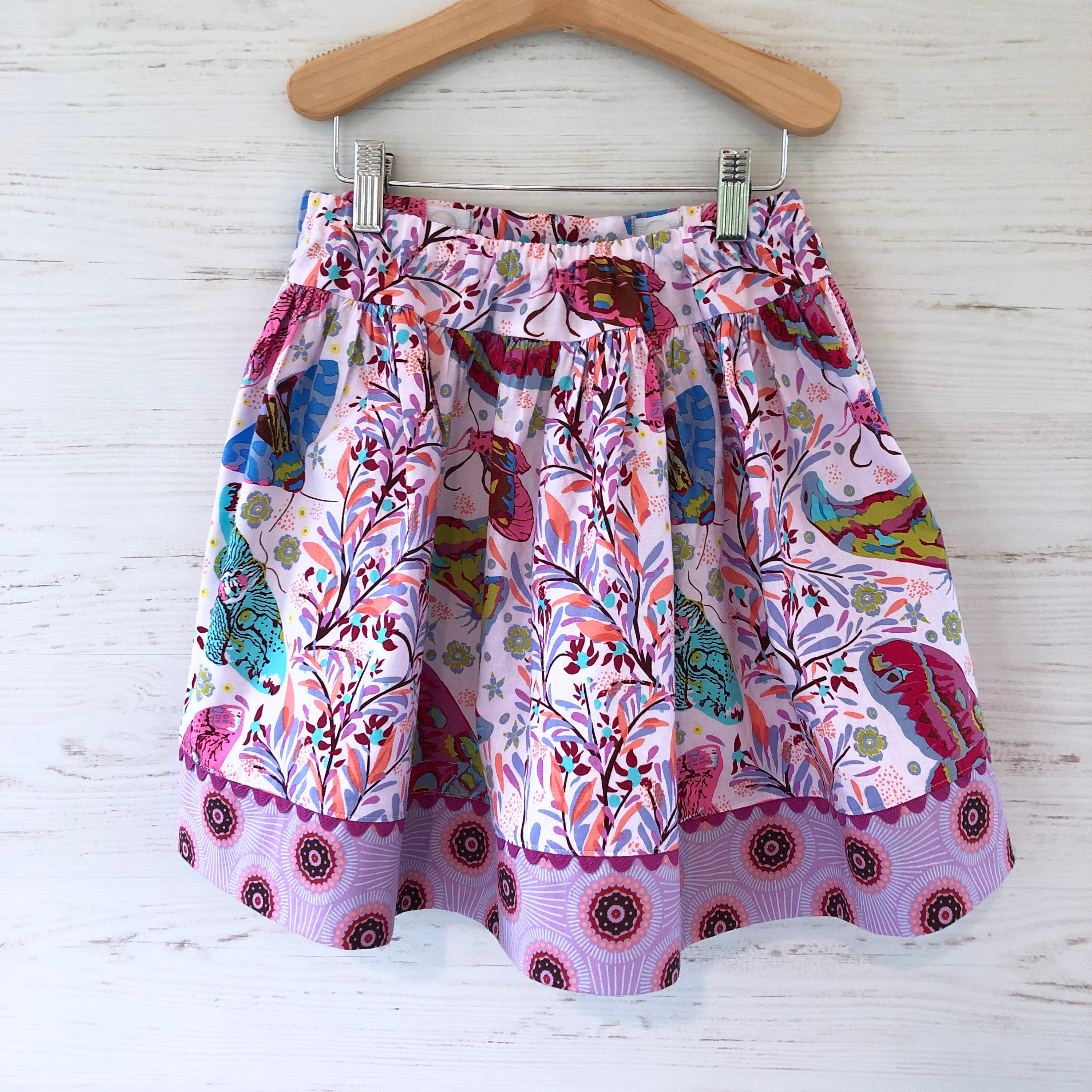 Favorite Twirl skirt in pink moth, sizes 3T 4T 5 6 7 8 - little girl Pearl