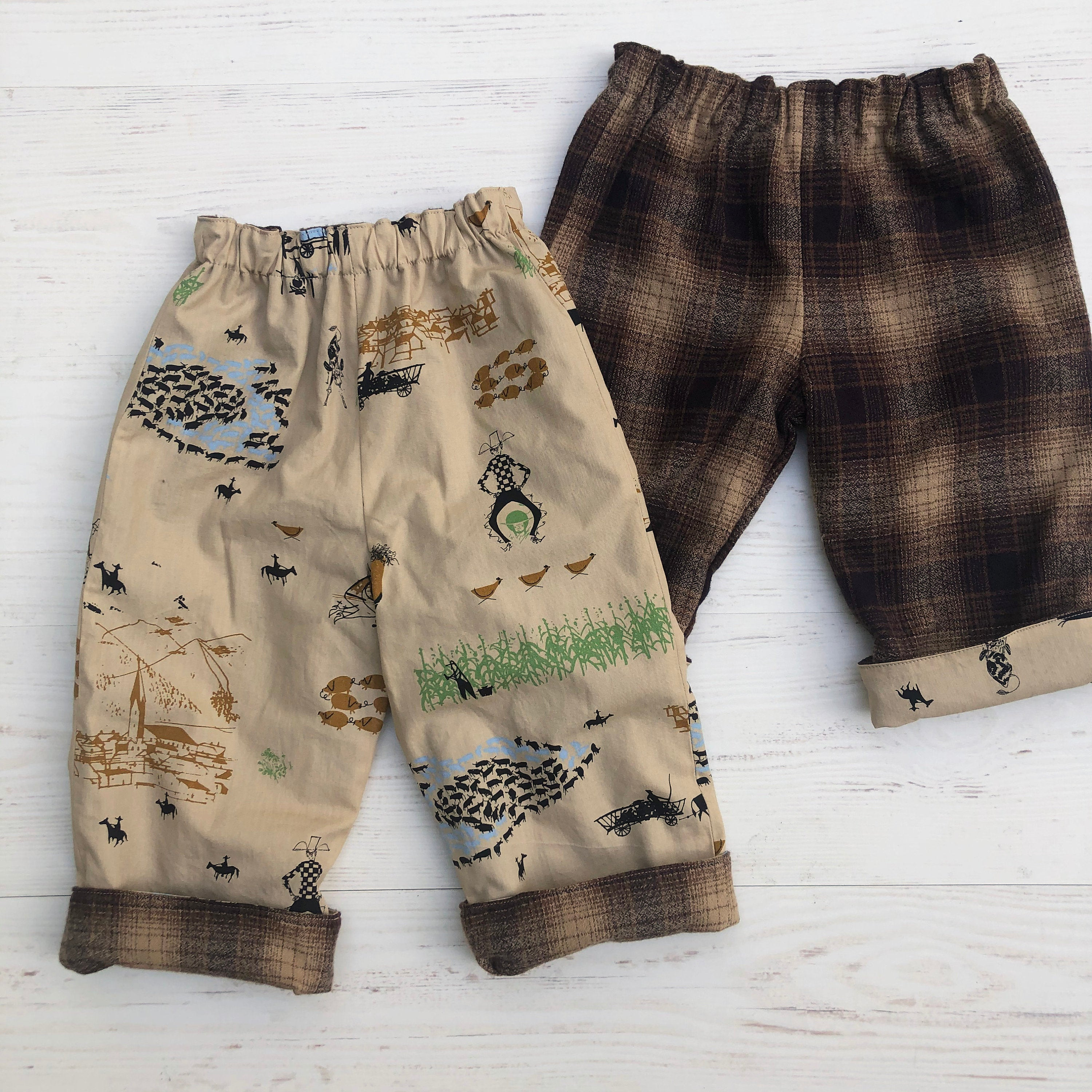 Flannel reversible pants Charley Harper Cowboy - little girl Pearl