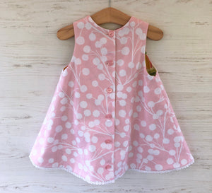 reversible intertwine dress in pink and yellow sizes 12M 18M 2T 3T 4T - little girl Pearl