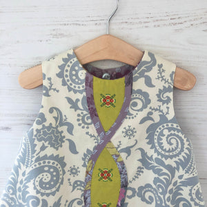 reversible intertwine dress in chartreuse and gray sizes 12M 18M 2T 3T 4T - little girl Pearl