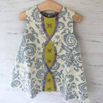 Load image into Gallery viewer, reversible intertwine dress in chartreuse and gray sizes 12M 18M 2T 3T 4T - little girl Pearl