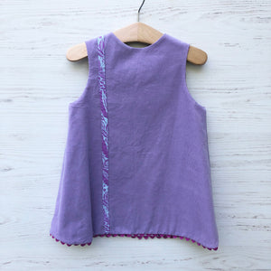 reversible corduroy stripe dress in lavender - little girl Pearl