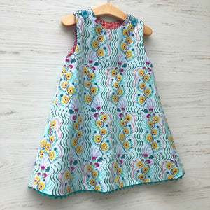 reversible balancing birds dress in aqua and coral - little girl Pearl