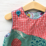 Load image into Gallery viewer, reversible balancing birds dress in aqua and coral - little girl Pearl